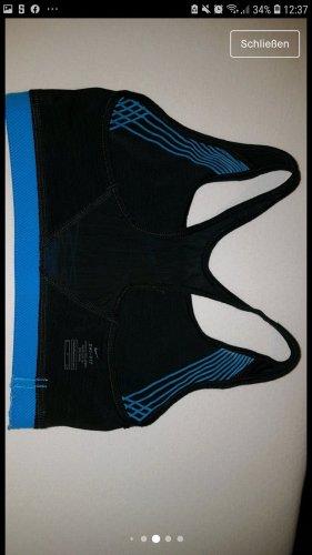 Sport BH schwarz blau Nike Dri-Fit Mittlerer Halt Gr. S