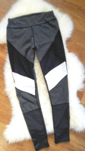 Sport Leggins grau schwarz weiß teils transparent Gr S