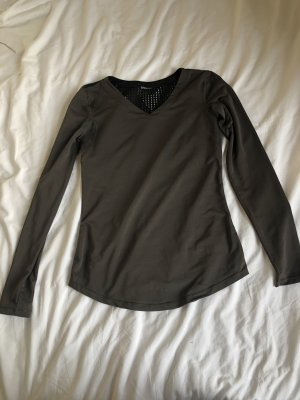 Sport Oberteil Shirt langarm Fitness Yoga Ärmel schwarz Olive grün Stretch gymshark style