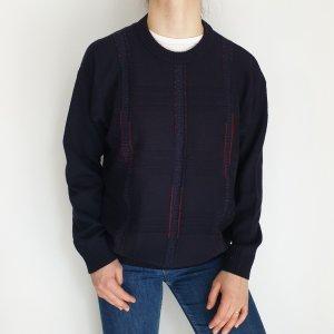 Sport Pool Blau rot Cardigan Strickjacke Oversize Pullover Hoodie Pulli Sweater Top True Vintage