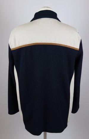 Sport Retro Ripp Strick Cardigan Jacke Wissmach Größe M 40 Dunkelblau Beige Hellbraun Blau Stehkragen  Materialmix
