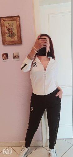 100% Fashion Veste de sport blanc-noir