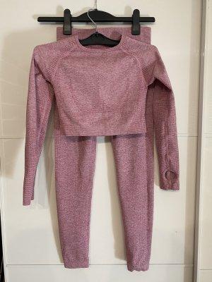 Sport set longsleeve crop top und leggings rosa