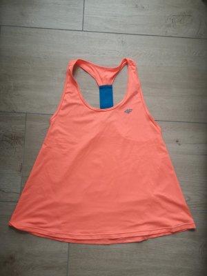 4F Top sportowy pomarańczowy neonowy