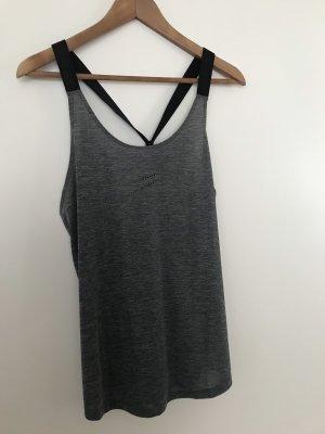 Nike Top deportivo sin mangas gris oscuro-negro
