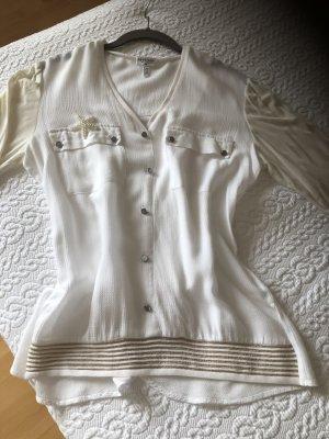 Sportalm T-shirt col en V blanc cassé-blanc viscose