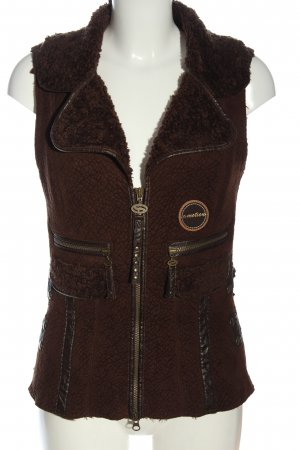 Sportalm Fur vest brown embroidered lettering casual look