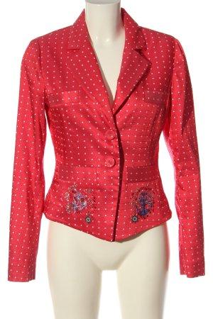 Sportalm Blazer corto rosso-bianco motivo a pallini stile casual