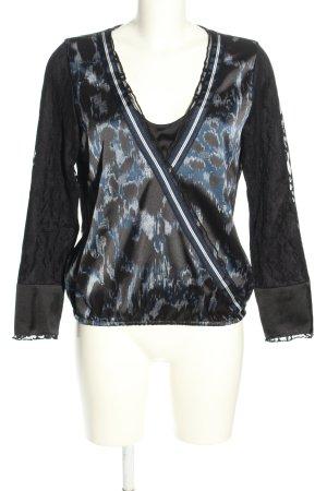 Sportalm Langarm-Bluse schwarz-blau Leomuster extravaganter Stil