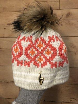Sportalm Cappello a maglia salmone-crema