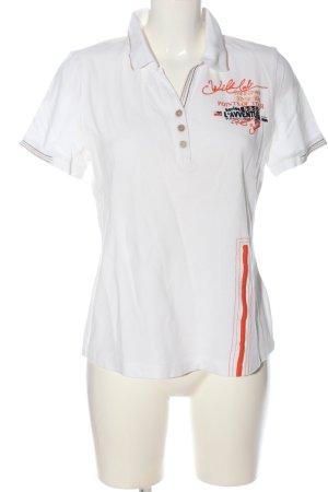 Sportalm Koszulka polo biały Wyhaftowany logo W stylu casual