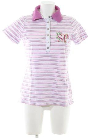 Sportalm Polo rosa-bianco Stampa a tema stile casual