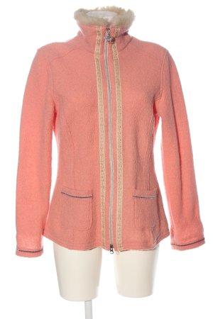 Sportalm Giacca in maglia rosa-color carne motivo a righe stile casual