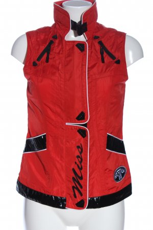 Sportalm Knitted Vest red-black printed lettering casual look