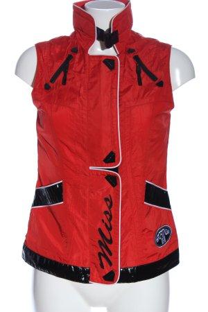 Sportalm Strickweste rot-schwarz Schriftzug gedruckt Casual-Look