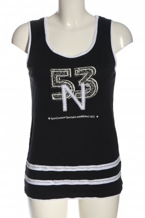 Sportalm Tanktop zwart-wit gedrukte letters casual uitstraling