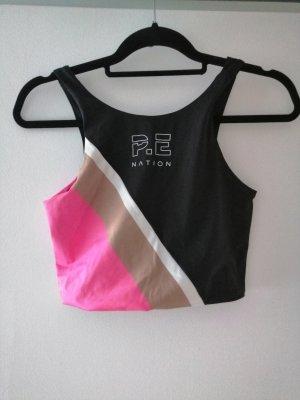 H&M Débardeur de sport noir-rose polyester