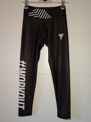 sporthose tights trecwear Größe XS 34 grau weiß Leggings Gym sporthose