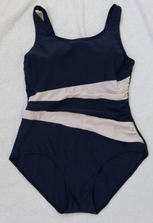 Strój kąpielowy biały-ciemnoniebieski