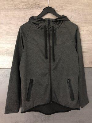 Sportjacke Trainingsjacke Kapuzenjacke mit Taschen grau schwarz S NEU