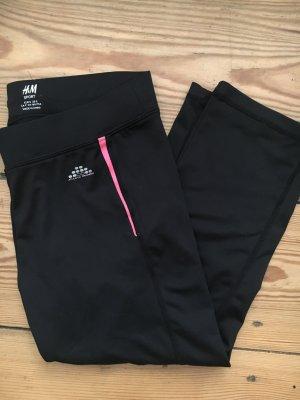 H&M Sport Pantalone da ginnastica nero-fucsia neon