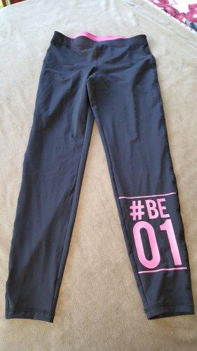 Sportleggings Sporthose schwarz pinke Aufschrift S 36/38