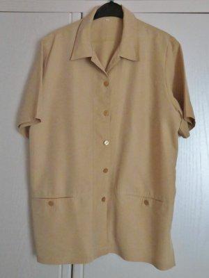 Sportlich-elegante Bluse/Jacke, beige, Kurzarm + 2 Taschen, knitterarm, Gr. 44, wie neu-46