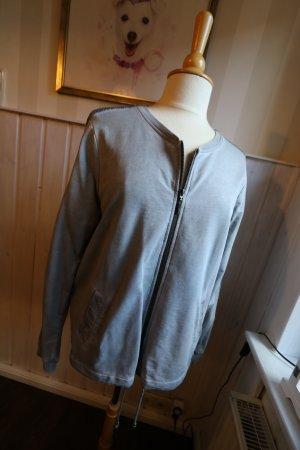 sportlich elegante Sweatjacke / Shirtjacke / Jacke mit Pailletten am Ärmel
