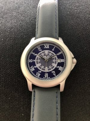 NEO Label Watch With Leather Strap silver-colored-dark blue