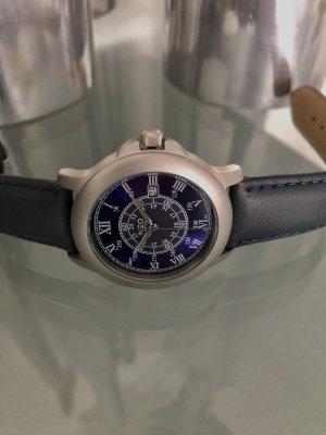 NEO Label Zegarek ze skórzanym paskiem srebrny-ciemnoniebieski