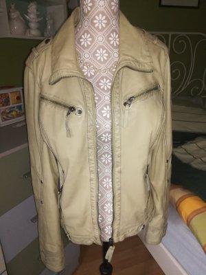 Sportlich schicke Lederjacke mit schönen Details von Gipsy. Pistaziengrün