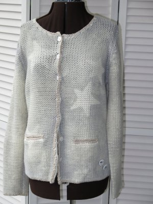 Grace Cardigan a maglia grossa crema-argento Cotone