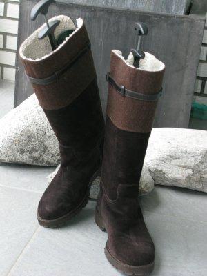 unnützer Botas de invierno marrón oscuro-marrón-negro Gamuza