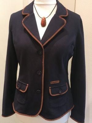 Blazer in jersey blu scuro-cognac Cotone
