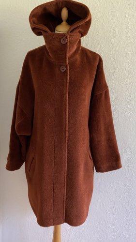 Steven-K Hooded Coat cognac-coloured alpaca wool