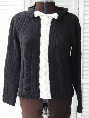 MARCCAIN Cable Sweater black-white cotton