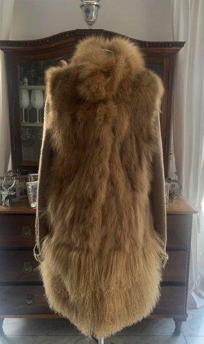 Twin set Futrzany płaszcz cognac