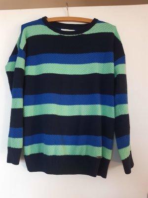 Sportlicher Pullover blau-mint gestreift von Adidas