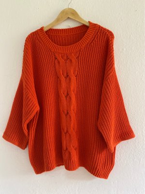 H&M Oversized Sweater dark orange cotton