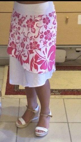 Triple Five Soul Asymmetry Skirt white-magenta