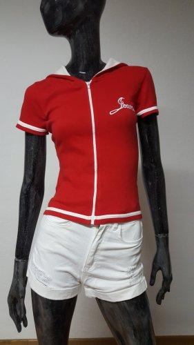 Maglione a maniche corte bianco-rosso scuro Cotone