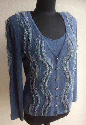 Sportliches 2tlg.Twinset, Marke Escada, Gr. 40, Jeans blau, Fransen-Look.