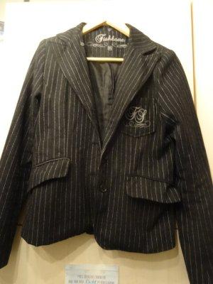 Fishbone Jersey blazer zwart-grijs
