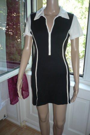 Sportliches schwarz-weiß Stretch-Kleid