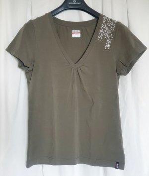 Sportliches Shirt von Esprit Sports in khaki mit V-Ausschnitt in Größe 42
