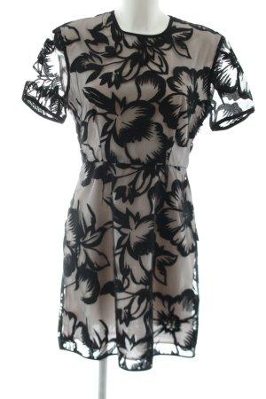 Sportmax Code Kurzarmkleid schwarz-wollweiß Blumenmuster Elegant