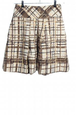 Sportmax Silk Skirt brown-natural white check pattern casual look