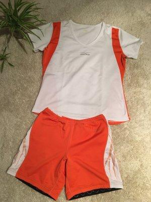 Sportoutfit von Venice Beach weiß Orange kurze Hose und T-Shirt