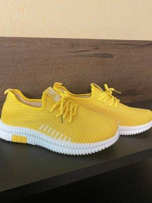 100% Fashion Sznurowane trampki żółty