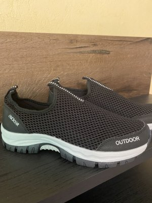 100% Fashion Sneakersy wciągane czarny-biały
